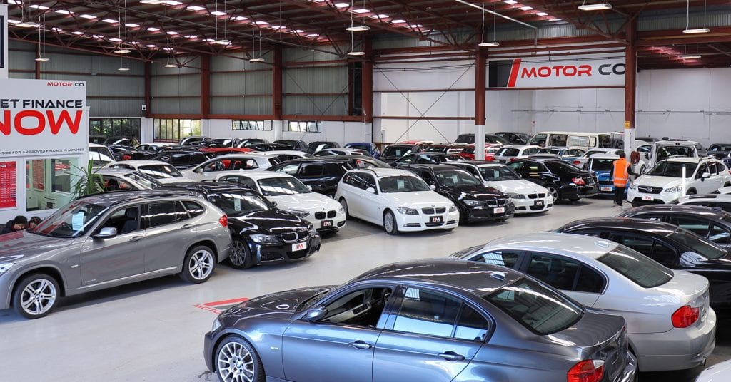 A wide view of the Japanese used cars selection at Motor Co, an Auckland car dealership.
