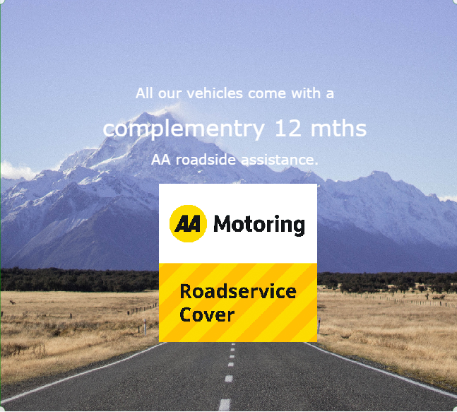 All our vehicles come with a complementary 12 months AA Roadside Assistance