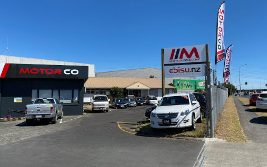 A wide shot of a Motor Co car yard where people can buy used cars in East Tamaki.
