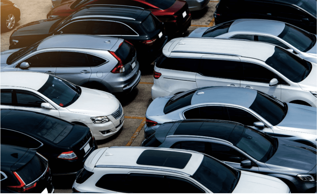 Used cars parked in Auckland dealership
